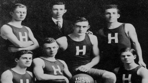 Allan Pond seated second from the left on his 1913-14 Cental Massachusetts State Championship Team - Played for Holliston on four State Championship Teams — with Allan Pond and Ed Brown.