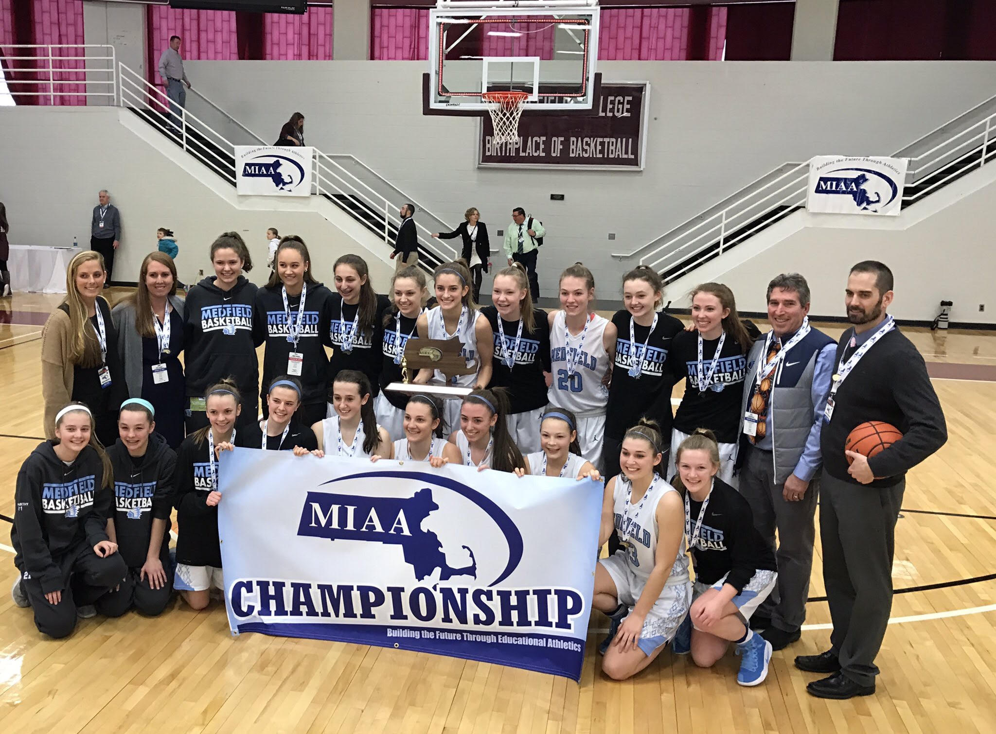 Medfield Girls With Championship Banner 3-18-2017